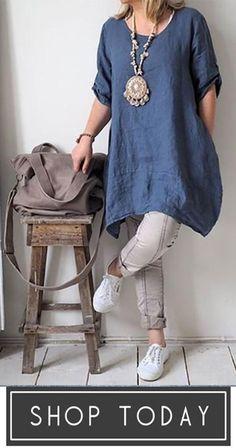 Blouses Shirts - - Casual Irregular Loose Fitting Linen Shirts Source by salikremziye Half Sleeve Shirts, Half Sleeves, Types Of Sleeves, Dresses With Sleeves, Maxi Dresses, Dressy Dresses, Beach Dresses, Summer Dresses, Shirts & Tops