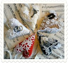 vintage lace and trinkets on felt hearts
