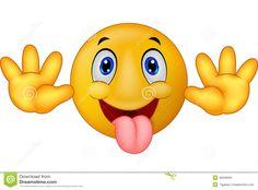 Il fumetto sorridente dell emoticon allegro scherzosamente ha attaccato fuori la sua lingua