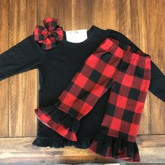 Buffalo Plaid Ruffle Pants - Girls Ruffle Pants - Red & Black Plaid Red And Black Flannel, Red Black, Girls Ruffle Pants, Double Ruffle, Buffalo Plaid, Baby Sewing, Family Pictures, Plaid Scarf, Kids Fashion