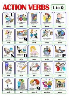 This is the third worksheet of the ACTION VERB set. It includes verbs from l) to q). There is always a picture and an example sentence to help make the meaning clearer. English Adjectives, English Verbs, English Vocabulary, English Grammar, Teaching English, English Lessons, Learn English, Grammar For Kids, Verb Worksheets