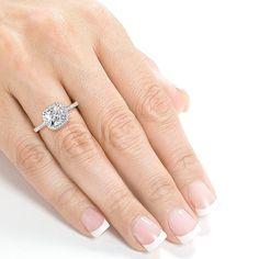Annello 14k White Gold 1 1/3ct TDW Cushion-cut Diamond Halo Engagement Ring (H-I, I1-I2)