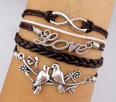 Infinity & Love Birds Charm Bracelet in by TheGiftoftheMagi, $7.99