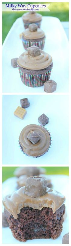 Creamy and oh-so delicious Milky Way Cupcakes are the perfect chocolate and caramel combination.