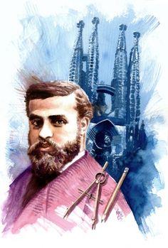 Portrait of architect Antoni Gaudi (Spanish, by Ken Meyer, Jr Spanish People, Ap Spanish, How To Speak Spanish, Antonio Gaudi, Parc Guell, Famous Architects, Art Nouveau, Culture, Portrait