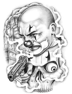 Chicano Clown Tattoo Design - Awesome Chicano clown with the pistol. Chicano Tattoos Gangsters, Lettrage Chicano, Chicano Art Tattoos, Chicano Drawings, Dark Art Drawings, Tattoo Design Drawings, Tattoo Designs, Gangster Drawings, Sketch Tattoo