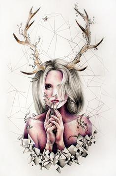 The Antlers Art Print by KatePowellArt