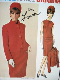 1960s CLASSY SLIM DRESS, JACKET PATTERN LANVIN VOGUE PARIS ORIGINAL PATTERNS 1749