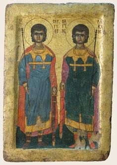 Icon with Sts. Sergius and Bacchus on one side and a face on the other  Inv. No. 3360  Tempera and gilt on linen and wood  H: 42 cm, W: 28 cm  Probably from Wadi el-Natrun, Monastery of the Syrians, ca. 1300 Coptic Museum, Cairo.