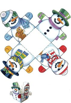 Christmas Crafts - Snowman Box From Dover Publications: Easy Christmas Crafts: 12 Holiday Cut & Mak. Christmas Paper, Christmas Activities, Christmas Crafts For Kids, Christmas Printables, Christmas Snowman, Christmas Projects, Simple Christmas, Holiday Crafts, Christmas Holidays