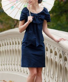 I still have to make these big bow dresses for the girls and me. Navy Bethesda Fountain Dress #zulily #zulilyfinds