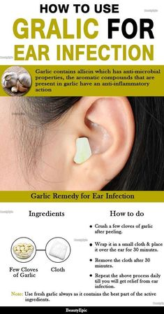 Remedies For Whiter Teeth How to treat ear infection using garlic - garlic have an anti-inflammatory action and natural anti-bacterial, anti-fungal and anti-septic. Here are effective ways to use garlic for ear infection Garlic For Ear Infection, Oils For Ear Infection, Ear Infection Remedy, Eye Infections, Earache Remedies, Holistic Remedies, Home Remedies, Natural Remedies, Health Remedies
