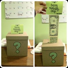 Birthday present for boyfriend's little brother! Got the idea from Pinterest! Box + Taped money!