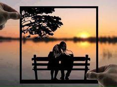 Romantic Evening Handmade Original Paper Cut First Wedding Anniversary Personalized Gift: Hand-Cut Paper Art Silhouette (UNFRAMED) Unique Wedding Gifts, Personalized Wedding Gifts, Gift Wedding, Wedding Paper, Sunset Silhouette, Romantic Evening, Love Wallpaper, Paper Cutting, Cut Paper