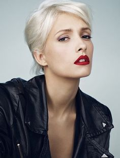 White hair, pale skin & red lips!