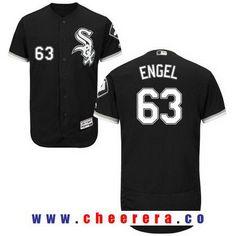 Men's Chicago White Sox #63 Adam Engel Black Stitched MLB Majestic Flex Base Jersey
