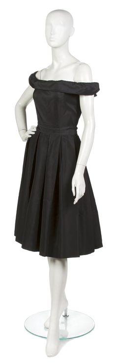 Christian Dior Black Silk Faille Cocktail Dress