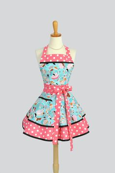 Ruffled Retro Apron Sexy Womens Apron in Pink by CreativeChics
