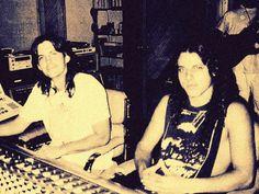 Scott Burns and Chuck Schuldiner at the Morrisound studios, circa 1991, DEATH, Human era.