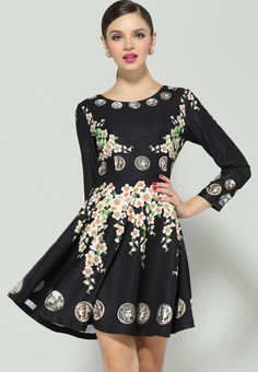 Black Long Sleeve Floral Coins Print Dress $58.5