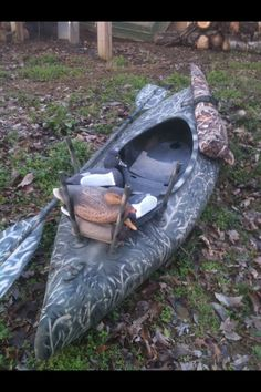 Duck hunting kayak. I took a used kayak. I Made stencils out of cereal boxes and cut my designs. Painted it with camo spray paint. I cut pvc pipes to make my decoy holder. The pipes are secured with Pvc screw on attachments. I used a Velcro rod holder to hold my floating gun case. And finally I bought a paddle holder kit and attached it according to instructions. The finished product is a duck killing machine that will go anywhere with water and didn't cost me a fortune.