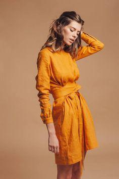 Robe en lin femme. Mini robe en lin. Robe en lin pur. Lin