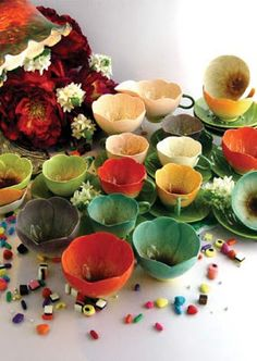 Delicate flower shaped teacups. Perfect for a fairy tea time wedding or garden party.