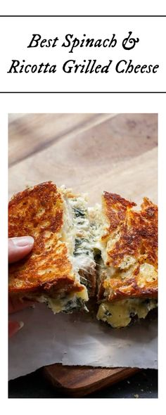 Best Spinach & Ricotta Grilled Cheese ever! Treat yourself to this amazing, creamy, cheesy goodness tonight! Don't wait, you can have this delicious spinach and ricotta grilled cheese right now! #grilledcheese #spinach #ricotta #cheese