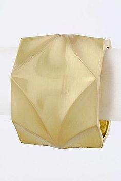 Heavy Pounded Dented Metal Cuff Bangle Hinge Bracelet Brushed Gold