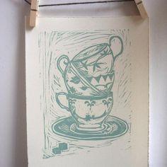 teacups lino print