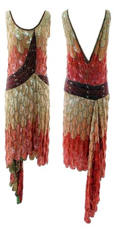 ~1925 beaded~20s beaded dress color photo print brown red orange cream white drape swag short