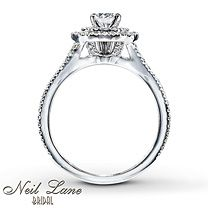 1 ct tw Diamond Engagement Ring Round-Cut 14K White Gold