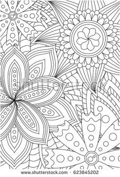 Black And White Pattern For Adult Coloring Book Vector Elements Design Good