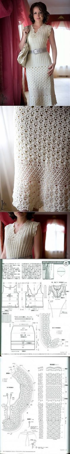 Beautiful dress hook – World of knitting and needlework // Olena Tegza T-shirt Au Crochet, Gilet Crochet, Mode Crochet, Crochet Buttons, Crochet Shirt, Crochet Woman, Irish Crochet, Crochet Stitches Patterns, Knitting Patterns