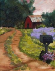 Red Barn Tin Roof Country Rd original oil painting By Marilyn Nolan-Johnson