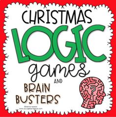 This Christmas Logic Puzzles is great for 3rd, 4th, 5th, 6th grade or homeschool. Logic Games & Brain Busters are great critical thinking activities for third, fourth, fifth, sixth graders & homeschool students. Activities include tree sums, reindeer replacements, Santa's gift guide, gift exchange & more. Students review addition, subtraction, multiplication, division & more. Great for centers, stations, review, enrichment & early or fast finishers. #Christmas