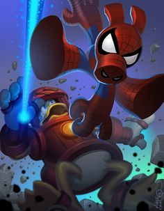 Iron Duck vs. Spider-Ham, by Vince Chui.