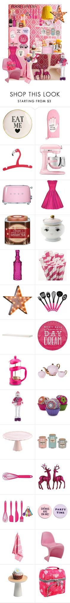 """A Pink Vintage Holiday Kitchen"" by decorkiki on Polyvore featuring interior, interiors, interior design, home, home decor, interior decorating, H&M, KitchenAid, Smeg and Wakaya Perfection"