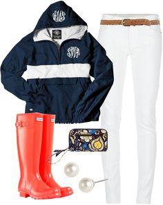 """Stripe Rain Jacket"" by classically-preppy ❤ liked on Polyvore"