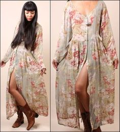 Vtg 90s Sheer Romantic Sage Floral Revival Grunge Airy Drape Festival Maxi Dress | eBay