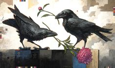 Craig Kosak Paintings - The First Agreement 30 x 50 Animal Art, Illustration, Drawings, Painting, Crow, Art, Bird Art
