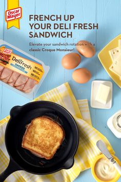 Take your taste buds on a trip with this French classic, the Croque Monsieur! When you start with Oscar Mayer Deli Fresh, you get all the good of the deli with no artificial preservatives and no added - Lunch Recipes, Breakfast Recipes, Cooking Recipes, Deli Fresh, Sandwiches, Boite A Lunch, Tasty, Yummy Food, Oscar Mayer