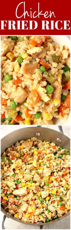 Chicken Fried Rice recipe - quick and easy veggie and chicken packed meal for the busy weeknights! Plus my favorite tip on saving time with easy rice prep!
