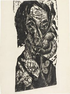 (Germany) - Ernst Ludwig Kirchner - Head of a Sick Man - Self-Portrait - 1918