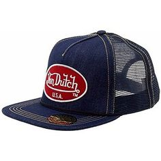effdb1c4c47 Von Dutch Men s OG Patch Red So Cal Blue Trucker Cap Hat (One Size Fits  Most)