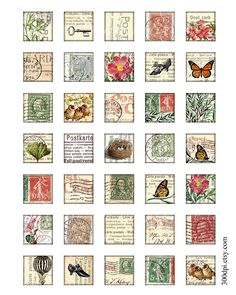carte postale 1 x 1 inch square images Printable by 300dpi on Etsy, $4.00