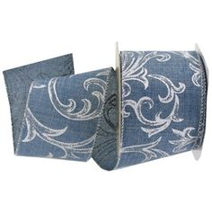 """2 1/2"""" Faux Denim Wired Ribbon with Silver Scroll 