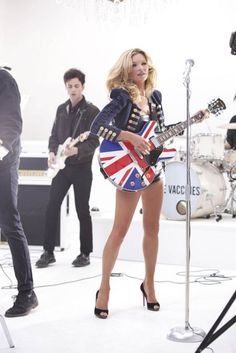 Kate Moss + Union Jack Guitar + The Vaccines. Is this real life? Kate Moss, Union Jack, Rimmel, Scandal, Queen Kate, Miss Moss, Stephanie Seymour, Carla Bruni, Linda Evangelista