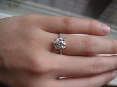 1.7 carat round brilliant on a thin pave band.