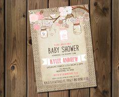 Burlap Rustic Baby Girl Shower Invitation Mason Jar Shabby Chic Pink _53